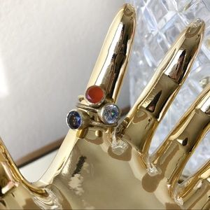 Anthropologie Jewelry Gold Stacking Rings Size 6